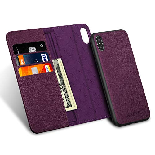 (AZOFO iPhone XS Wallet Case, iPhone XS Case, Slim [2 in 1] Detachable Magnetic Case Cowhide Leather Flip Folio Cover, Card Holder Slots, Kickstand, Gift Package Compatible iPhone XS (5.8-inch), Purple)