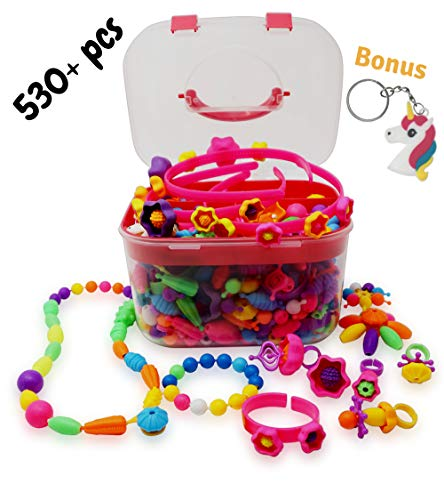 Pop Beads,Girls Toy Age 4,5,6,7 and 8|Jewelry Making Kit-530 Plus Pieces|DIY Snap Together Set|Bracelets|Rings|Necklace|Headbands|Best for Birthday(Storage Box) -
