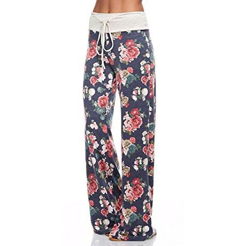 Floral Las Wlgreatsp Vin Vendimia Pantalones Casuales Beauty Impreso Blue De Mujeres Yoga CwOwxYZq