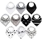10-Pack Baby Bibs Upsimples Baby Bandana Drool Bibs for Drooling and Teething, 100% Organic Cotton and Super Absorbent Bibs for Baby Boys, Baby Shower Gift Set: more info