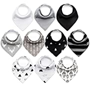 10-Pack Baby Bibs Upsimples Baby Bandana Drool Bibs for Drooling and Teething, 100% Cotton and Super Absorbent Hypoallergenic Bibs for Baby Boys, Baby Shower Gift Set