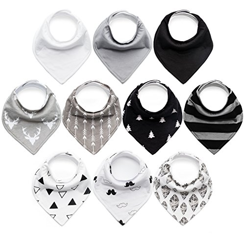 Price comparison product image 10-Pack Baby Bibs Upsimples Baby Bandana Drool Bibs Unisex for Drooling and Teething, 100% Cotton and Super Absorbent Hypoallergenic Bibs for Baby Boys and Girls, Baby Shower Gift Set