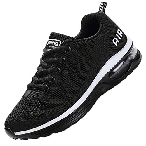 MEHOTO Womens Fashion Lightweight Tennis Walking Shoes Sport Air Fitness Gym Jogging Running Sneakers Blackwhite 7 B(M) US