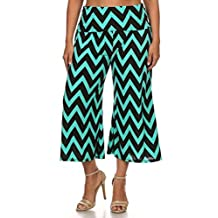 CANARI Plus Size Womens Gaucho Capri Pants Culotte Chevron Print