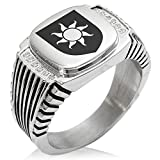 Two-Tone Stainless Steel Sun Splendor Coat of Arms Shield Engraved Clear Cubic Zirconia Ribbed Needle Stripe Pattern Biker Style Polished Ring, Size 13