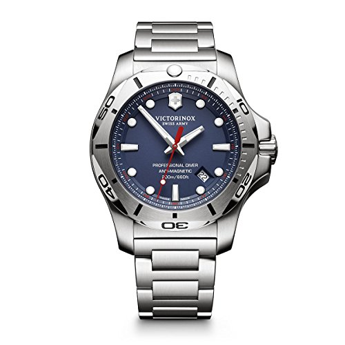 Victorinox Swiss Army Men's 'I.N.O.X.' Swiss Quartz Stainless Steel Casual Watch, Color:Silver-Toned (Model: - Swiss Watch Dial Blue Army