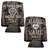 Custom Camouflage Wedding Can Cooler- He Took A Shot (150)