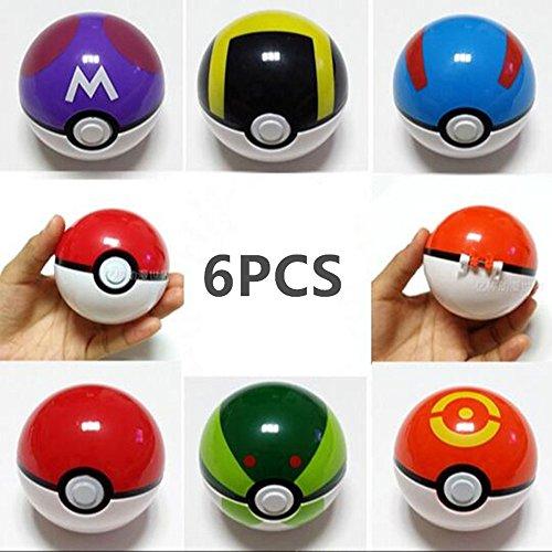 6PCS Action Anime Figures Cartoon Pokemon PokeBall Empty Different Color Plastic Collection Toys