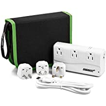 [Patent Protected] BESTEK Travel Adapter 220V to 110V Voltage Converter with 6A 4 USB Ports and UK/AU/US/EU Plug Adapter