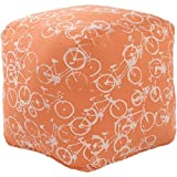 18'' Peddle Power Burnt Orange and White Whimsical Square Pouf Ottoman