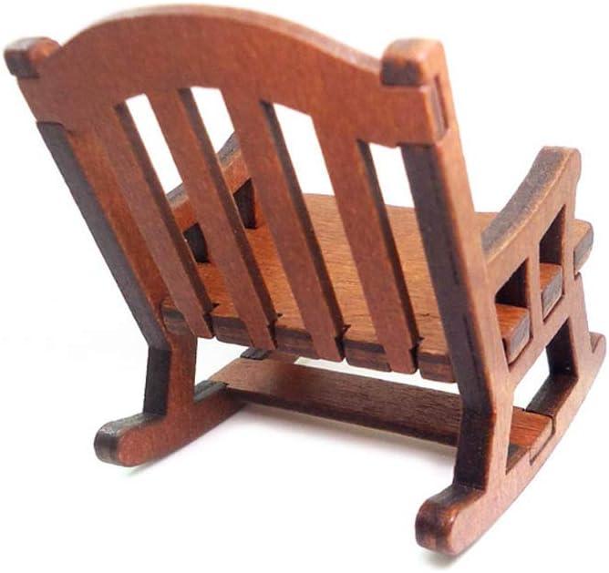 Wuqiong Uno y Doce de Madera Sill/ón Mecedora Silla de mu/ñecas en Miniatura Muebles Modelo casa de mu/ñeca de Juguete de Regalo