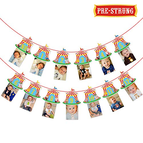 Circus Carnival Theme Banner for 1st Birthday Party Circus Theme First Year Baby Monthly Milestone Banner Photo Booth Props Cake Smash Party Decorations Supplies -