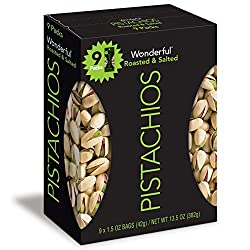 Wonderful Pistachios, Roasted and Salted Nuts, 1.5 Ounce Bag (Pack of 9)
