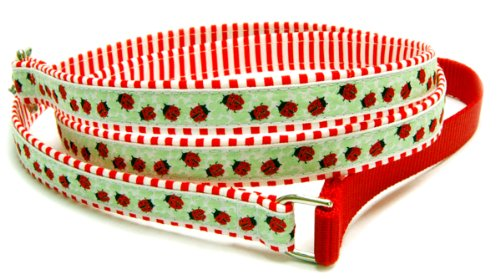 Cotton dog leash : Happy ladybugs on clover ribbon on stripe cotton fabric pet leash for medium dogs to large dogs. Matching dog collar and dog harness are available. Handcrafted and made in the USA. 1 inch, 4 feet ()