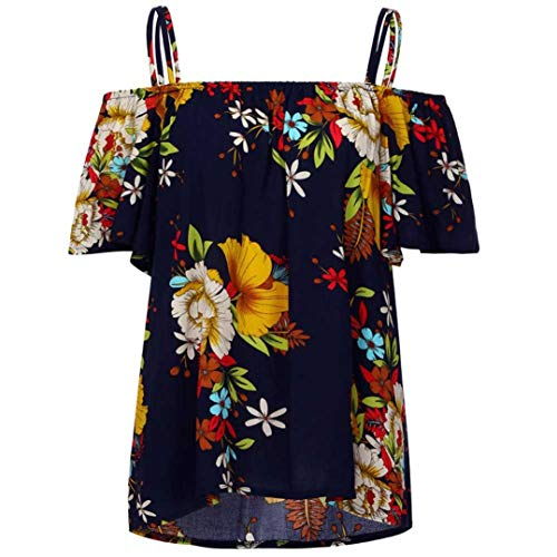 iTLOTL Fashion Womens Plus Size Floral Print Cold Shoulder Blouse Casual Tops Camis (L, Navy) -