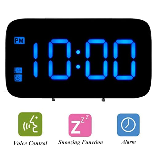 ALLOMN Reloj Despertador, Control de Voz Reloj de Viaje ...