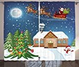 Ambesonne Christmas Curtains, Classical Xmas Scenery Santa Delivering Presents with Rudolf the Red Nosed Reindeer, Living Room Bedroom Window Drapes 2 Panel Set, 108 W X 84 L Inches, Multi Review