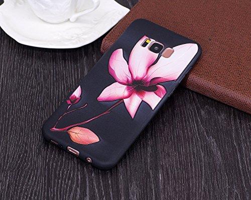 Carcasa Samsung Galaxy S8 Plus, Funda Samsung Galaxy S8 Plus Silicona Negra, EUWLY Alta Calidad Suave Funda Caso Ultra Delgado Ligero Negro Silicona TPU Flexible Gel Protectora Parachoques Cubierta Ca Lotus