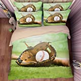 Perfect Baseball Green Cotton Microfiber 3pc 104''x90'' Bedding Quilt Duvet Cover Sets 2 Pillow Cases King Size