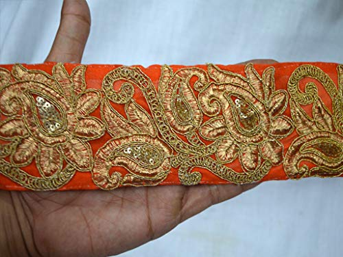 """2.8"""" Beautiful Orange and Gold Embroidered Paisley for sale  Delivered anywhere in USA"""