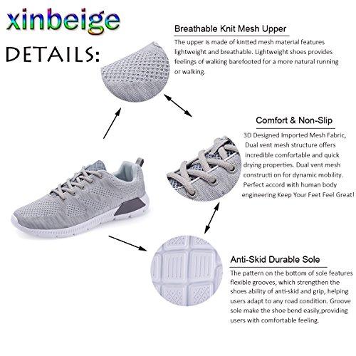 Mens Walking Schuhe Leichte atmungsaktive Laufschuhe Mesh Fashion Sneakers für Männer Grau 2
