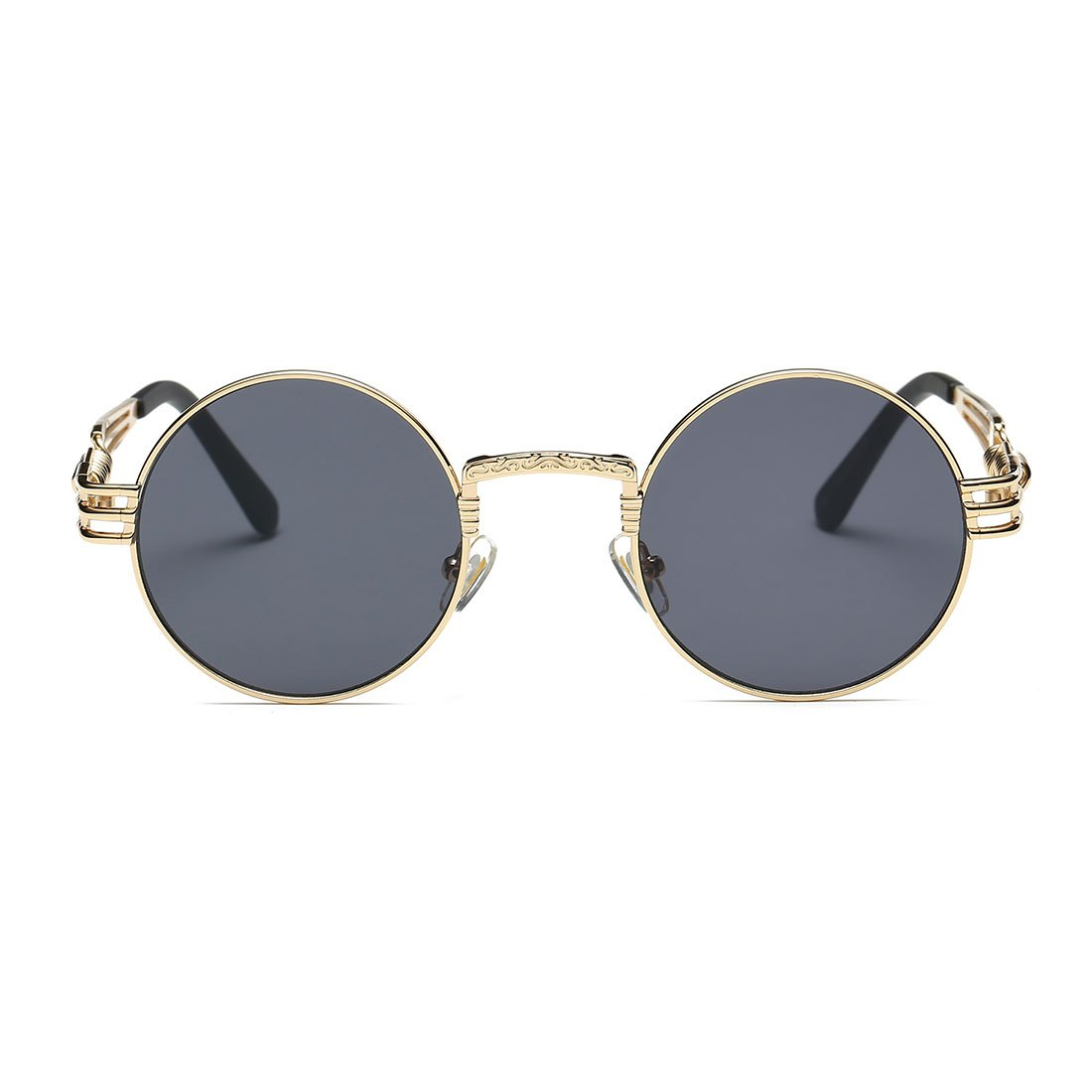AEVOGUE Sunglasses Steampunk Style Round Metal Frame Unisex Glasses AE0539 (Gold&Black, 48) by AEVOGUE (Image #3)