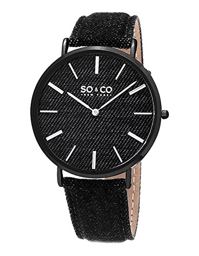 SO&CO New York Unisex 5103.4 SoHo Quartz Black Denim Leather Band Watch (Leather Black Soho)
