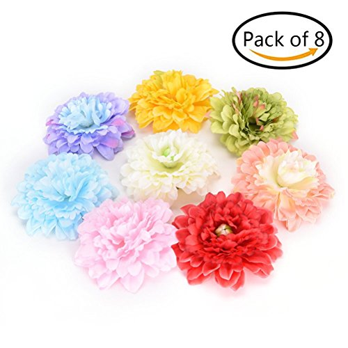 SUSHAFEN Pack of 8 Assorted Color Bohemian Artificial Flower Hair Clips Beach Hair Pins for Party Wedding (Retro Beach Party Costumes)