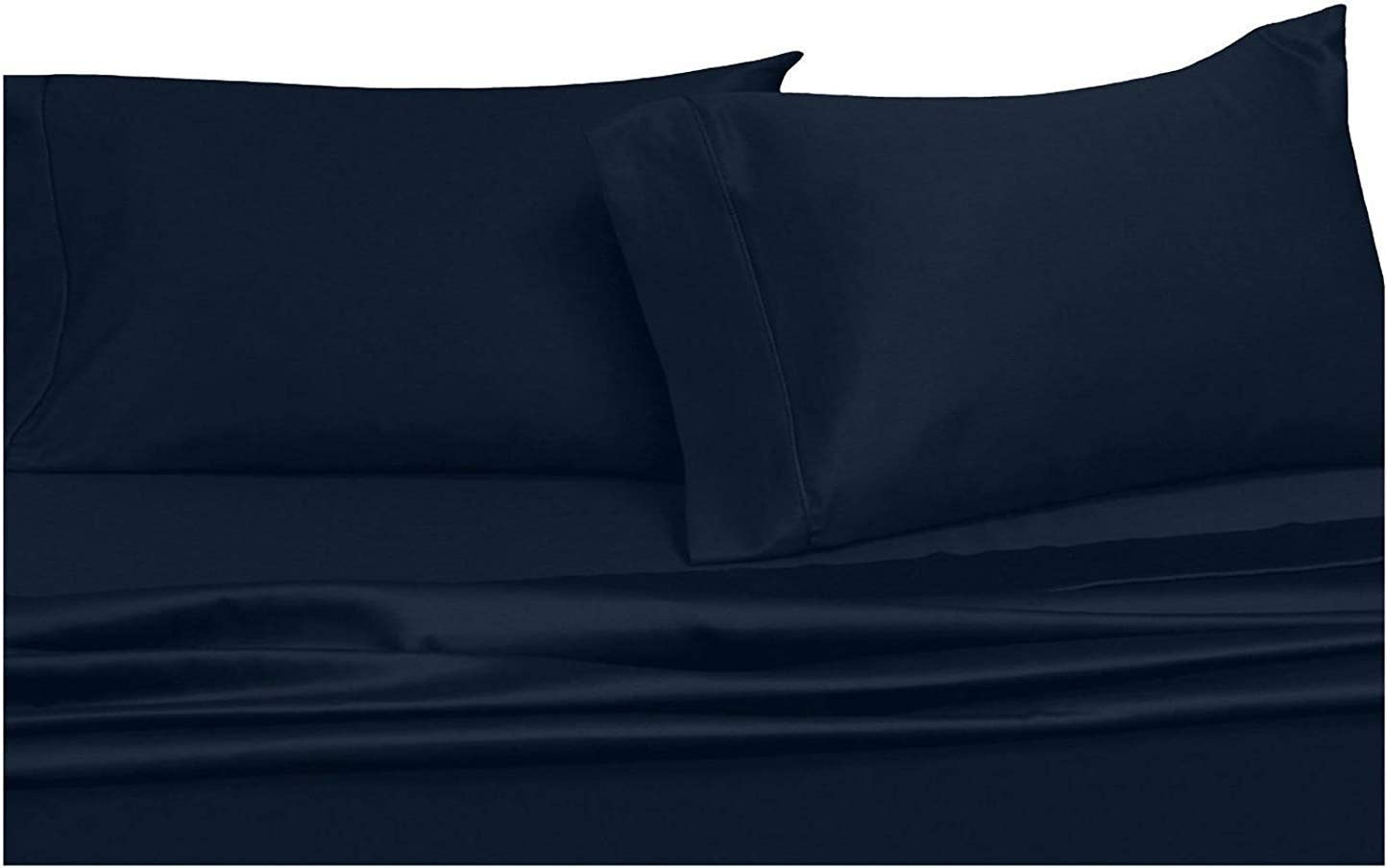 Split-King: Adjustable King Bed Sheets 5PC Solid Navy 100% Cotton 600-Thread-Count, Deep Pocket