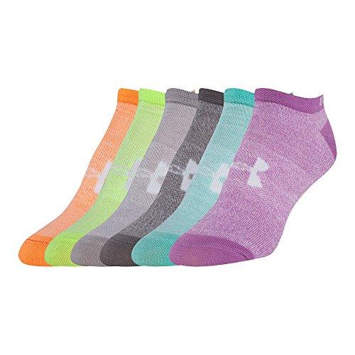 Under Armour UA Big Logo No Show Socks 6-Pack YLG Assorted