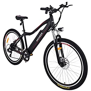 ANCHEER Electric Mountain Bike Approx 24 34 Miles Mileage with Large Capacity Removable Lithium Battery, Aluminum Alloy Frame and Shimano 21 speed Gear (black)