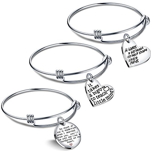 lauhonmin 3PCS Teacher Gifts Expandable Bangle Bracelets Set It Takes a Big Heart to Teach Little Minds