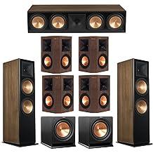 Klipsch 7.2 Walnut System with 2 RF-7 III Floorstanding Speakers, 1 RC-64 III Center Speaker, 4 Klipsch RP-250S Surround Speakers, 2 Klipsch R-112SW Subwoofers