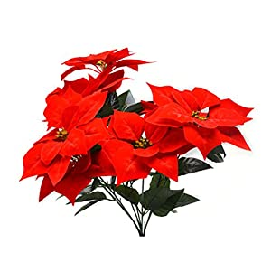 VORCOOL Real Touch Flannel Artificial Christmas Flowers Red Poinsettia Bushes Bouquets Xmas Tree Ornaments Centerpiece for Christmas Home Office Decor (Red) 4