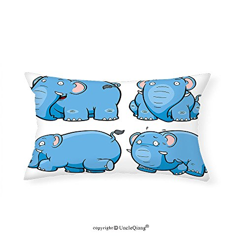 VROSELV Custom pillowcasesAnimal Kids Nursery Boys Girls Baby Room Clumsy Cartoon Cute Elephant Image Print for Bedroom Living Room Dorm Baby Blue and White(12''x24'') by VROSELV