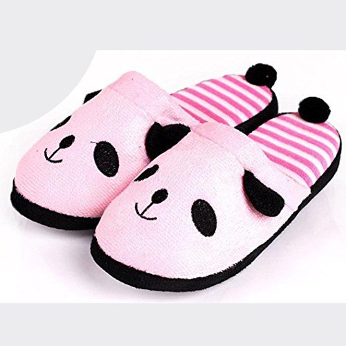 Lovely Female Home Soft Slippers Women Cartoon Panda Stripe Shoes Pink Floor Culater® Onza5qwn