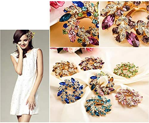 YRUI Jewelry Brooch Alloy Diamond Bauhinia Pin Scarf Buckle Dual-use Men and Women Clothing Accessories Size 6 6CM Colorful