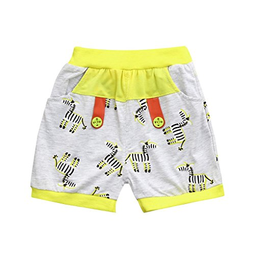 Ankola Children Summer Cartoon Zebra Print Shorts Toddler Kid Baby Boys Summer Casual Cotton Blend Shorts Pants with Pockets (Yellow, 6M) by Ankola (Image #7)