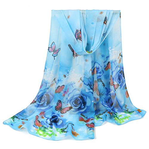 Women Scarf, CoKate Autumn Winter Soft Floral and Butterfly Print Chiffon Lightweight Scarf (Blue) (Scarf Soft Floral)