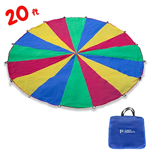 (Tunco 20ft Parachute - Extra Large Play Parachute Toy For Kids - Rainbow Parachute - Games For Kids - Mission Trip Supplies - School - PE - Vacation Bible School - Group Play)