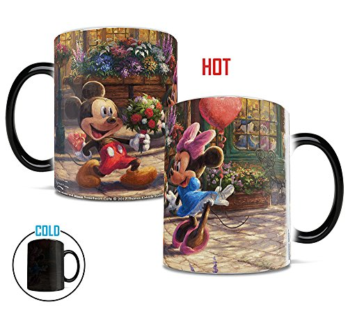 Mickey Mouse Coffee Mug (Morphing Mugs Thomas Kinkade Disney's Mickey and Minnie Mouse Sweetheart Cafe Heat Reveal Ceramic Coffee Mug - 11 Ounces)