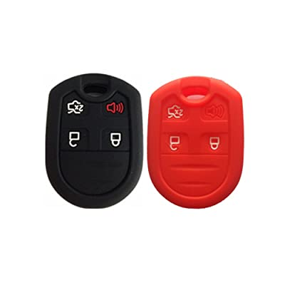 Black and Red Silicone Key Fob Case Cover Skin Key Jacket Keyless Smart Jacket Cover Protector for Ford Expedition F150 F250-350 LINCOLN Navigator: Automotive