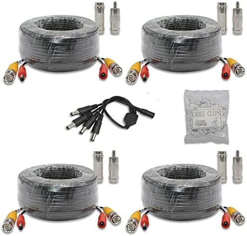 hoSecurity 4 Roll 30M 100 Feet 200W BNC Video Power AHD Cable Pre-Made All-in-One Siamese Coaxial BNC Video