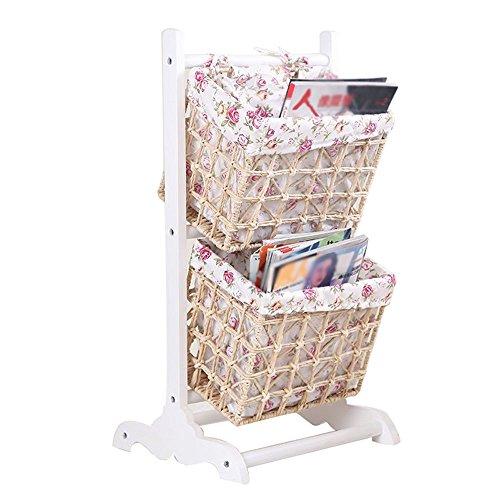 (Emma Home SJ Storage Racks Solid Wood Rattan Weaving Combined Storage Baskets Bookshelf Floor Type 2/3 Layer Magazine Racks Living Room Bedroom (Color : White, Size : 2 layer))