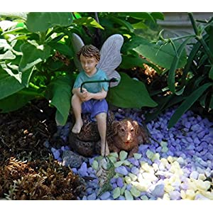 Gone Fishin Miniature Fairy Garden Boy Fishing W Dog Figurine
