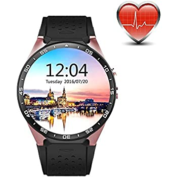 King Wear KW88 3G WiFi Smart Watch Cell Phone All-in-One Bluetooth Android SIM Card with GPS,Camera,Heart Rate Monitor,Google map (Black/Gold)
