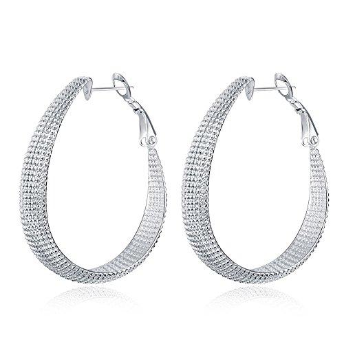 Newtrip 925 Sterling Silver Fashion Classic Big Hoop Drop Dangle Earring, Style5