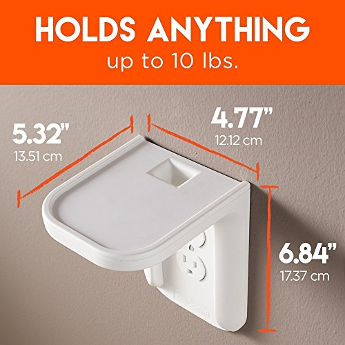 ECHOGEAR Outlet Shelf – A Space-Saving Solution For Anything Up to 10lbs – Built-In Cable Channel - Easy Install With Hardware Included - Ideal For Sonos and Smart Home Speakers - EGOS1 by ECHOGEAR (Image #3)
