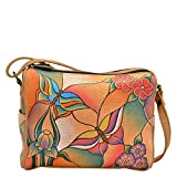 Anuschka Handpainted Leather Twin Top Small Convertible, Butterfly Glass Painting, One Size