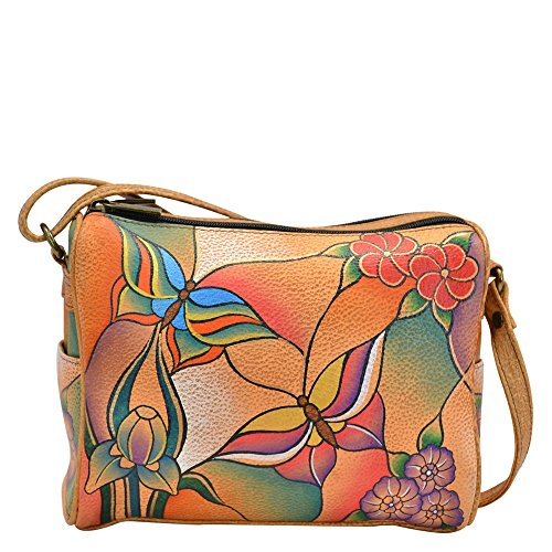 Anuschka Handpainted Leather Twin Top Small Convertible, Butterfly Glass Painting, One Size by ANUSCHKA